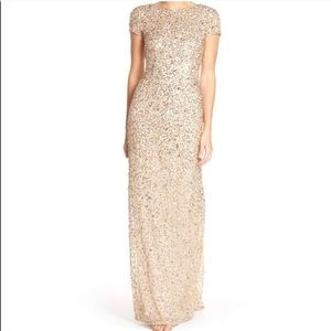 Adrianna Papell Sequined Boatneck Maxi Gown 2